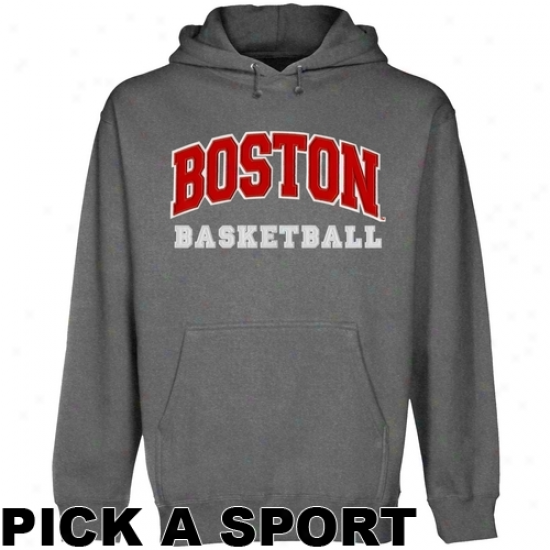 Boston Terriers Custom Sport Arch Applique Pullover Hoodie - Gunmetal