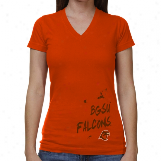 Bowling Green State Falcons Ladies Paint Strokes V-neck T-shirt - Orange