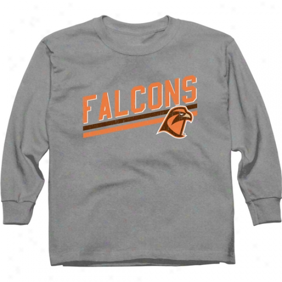 Bowling Green State Falcons Youth Rising Bar Long Sleeve T-shirt - Ash