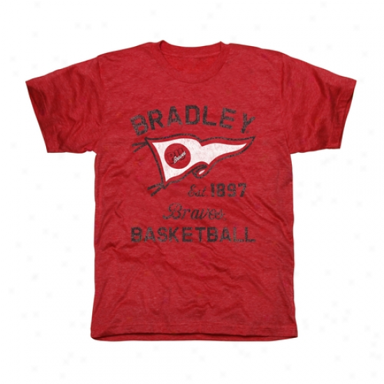 Bradley Braves Pennant Sport Tri-blend T-shirt - Red