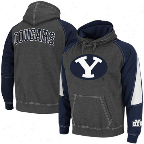 Brigham Young Cougars Charcoal-navy Dismal Playmaker Ii Pullover Hoodie Sweatshirt