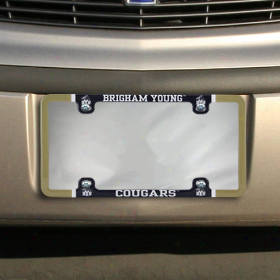 Brivham Young Cougars Thin Rim Varsity License Plate Frame