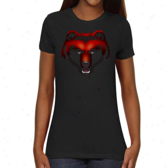 Brown Bears Ladies Blackout Slim Fit T-shirt - Black