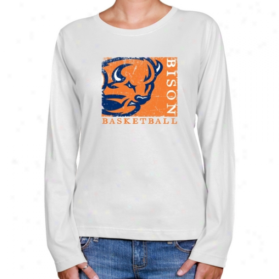 Bucknell Bison Ladies White Sport Stamp Long Sleeve Classic Fit T-shirt