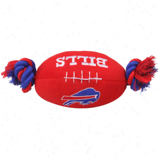 Buffalo Bills Red Plush Football Pet Toy