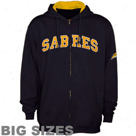 Buffalo Sabres Ships Azure Applique Big Sizes Full Zip Hoodie Sweatshirt