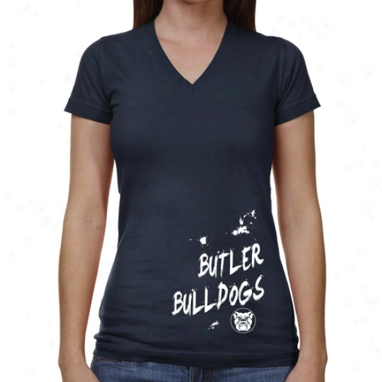 Butler Bulldogs Ladies Paint Strokes V-neck T-shirt - Ships Blue