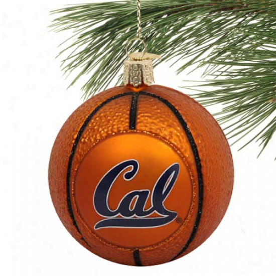 Cal Bears Glass Basketballl Ornament