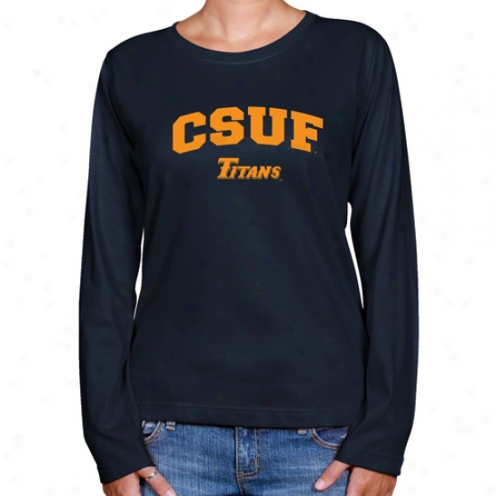 Cal State Fullerton Titans Ladies Ships Azure Logo Arch Long Sleeve Classic Fit Tee