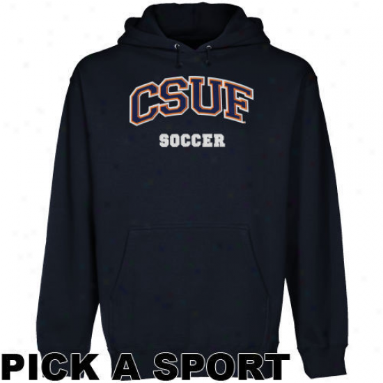 Cal State Fullerton Titans Navy Blue Custom Sport Arch Applique Midweight Pullover Hoody -