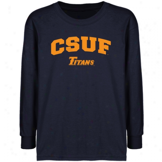 Cal State Fullerton Titans Youth Navy Blue Logo Arch T-shirt