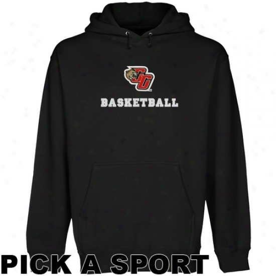 Caldwell Cougars Custom Sport Logo Applique Pullover Hoodie - Black