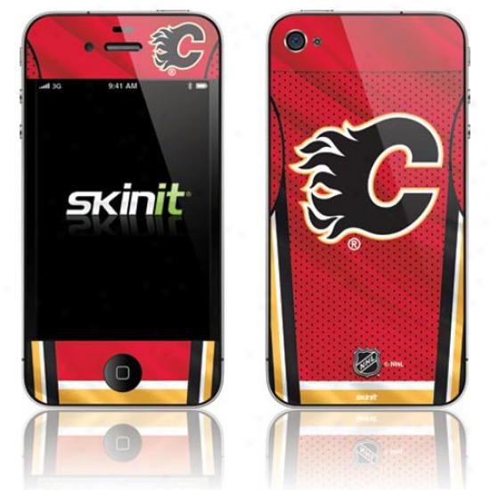 Calgary Flames Home Jerseyy Iphone 4 Skin -