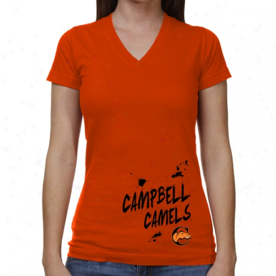 Campbell Fighting Camels Ladies Paint Strokes V-neck T-shirt - Orange