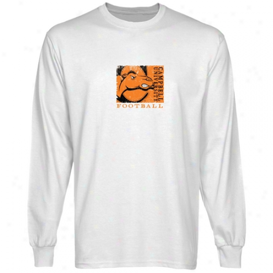 Campbell Fighting Camels White Sport Stamp Long Sleeve T-shirt