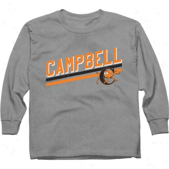 Campbell Fighting Camels Youth Rising Bar Long Sleeeve T-shirt - Ash