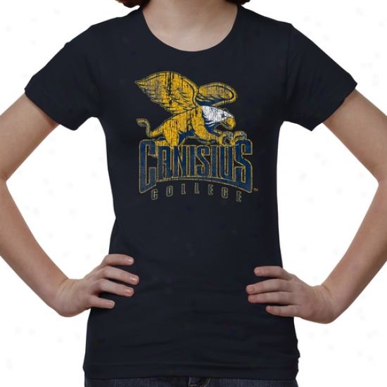Canisius College Golden Griffins Youth Distressed Primary T-shirt - Navy Blue -