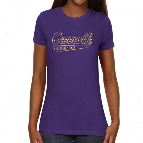 Carroll College Fighting Saints Ladies Swept Away Slim Fit T-shiirt - Purple