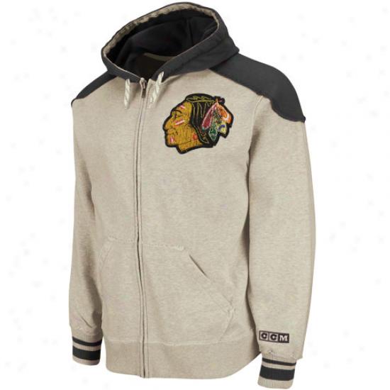 Ccm Chicago Blackhawks Gray-black Team Classic Filled Zip Hoodie Sweatshirt