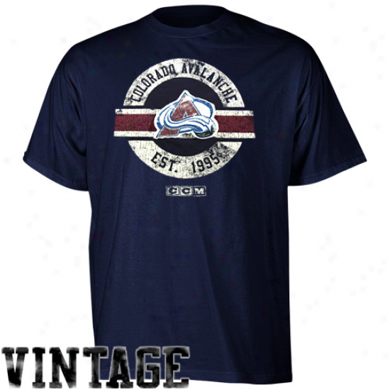 Ccm Colorado Avalanche Team Classic Premium T-shirt - Navy Blue