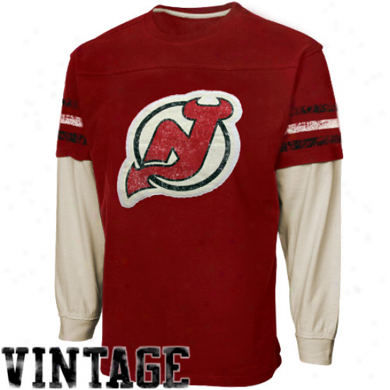 Ccm New Jersey Devils Youth Double Layered Vintage Long Sleeve T-shirt - Red