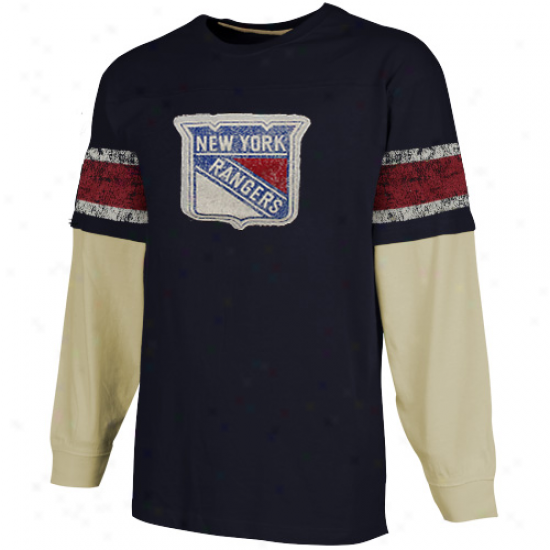 Ccm New York Rangers Youth Double Layyered Long Sleeve T-shirt - Navy Blue