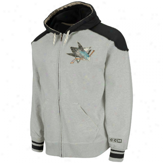 Ccm San Jose Sharks Gray-black Team Classic Full Zip Hoodie Sweatshirt