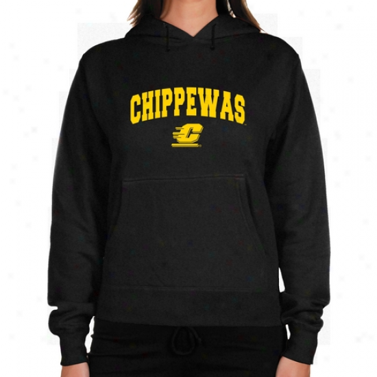 Cent. Michigan Chippewas Ladies Charcoal Logo Arch Lightweight Hoody