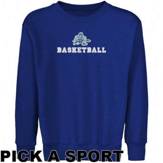 Central Connecticut Condition Blue Devils Youth Royal Blue Custom Play Logo Applique Crew Neck Fleece Sweatshirt -