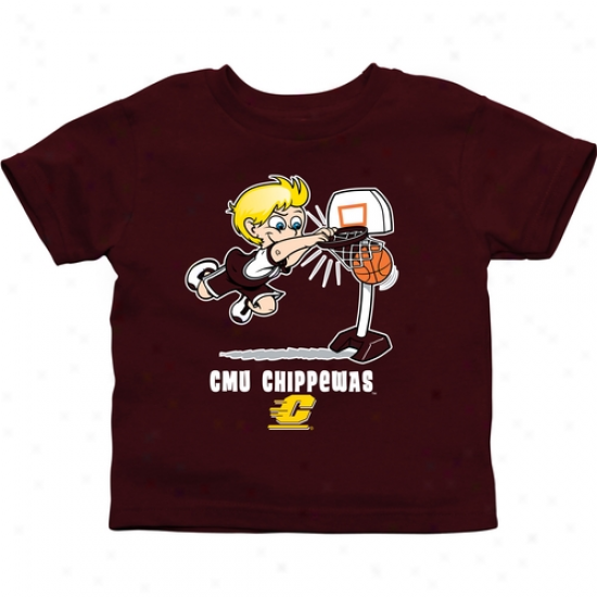 Centraal Michigan Chippewas Toddler Boys Basketball T-shirt - Maroon