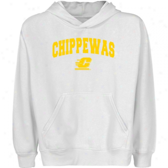 Central Michigan Chippewas Youth White Logo Arch Pullover Hoody
