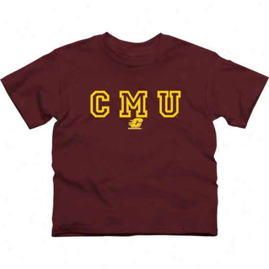 Central Michigan Chippewas Youth Wordmark Logo T-shirt - Maroon