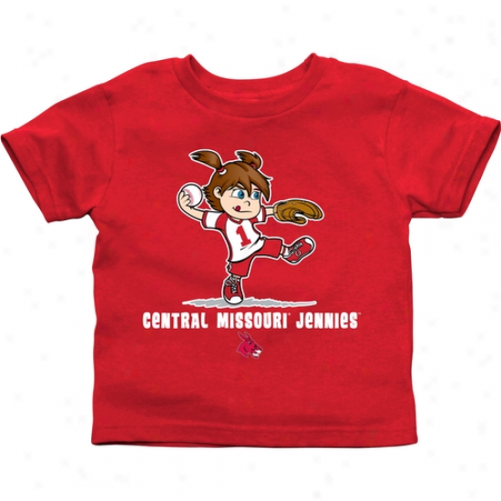 Central Missouri Mules Toddler Girls Softball T-shirt - Cardinal