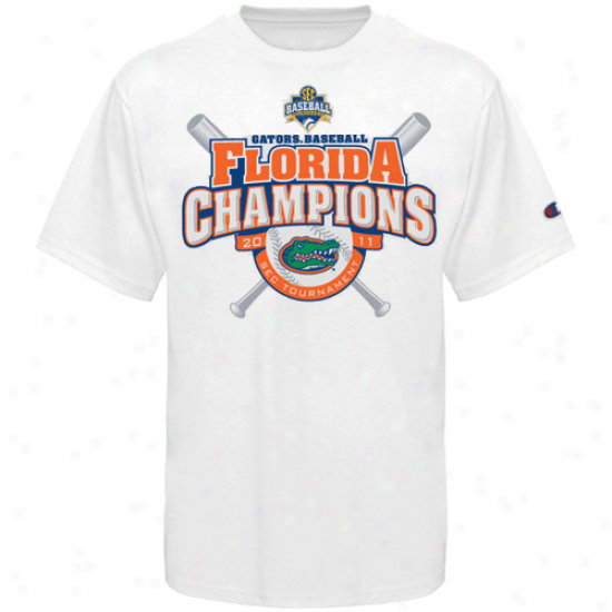 Champion Florida Gators 2011 Ncaa Sec Baseball Tournament Champions Locker Rooj T-shirt - White