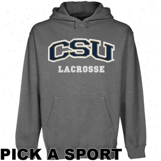 Charleston Southern Buccaneers Tax Sport Arch Applique Pullover Hoodie - Gunmetal
