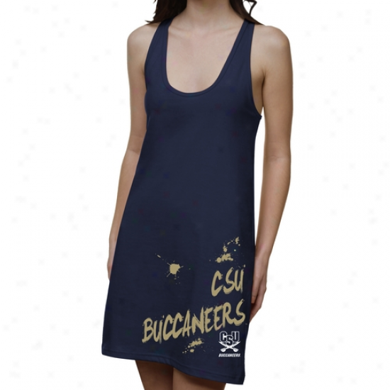 Charleston Southerly Buccaneers Ladies Paint Strokes Junior's Raceback Drses - Navy Blue