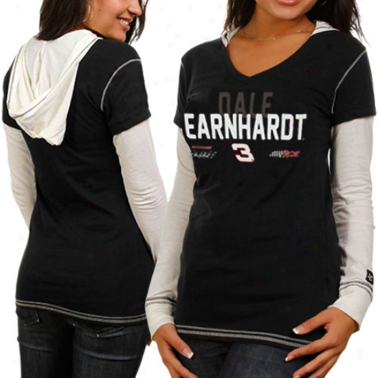 Chase Authentics Dale Earnhardt Ladies Double Layer Hoode Ldong Sleeve Reward T-shirt - Black-white