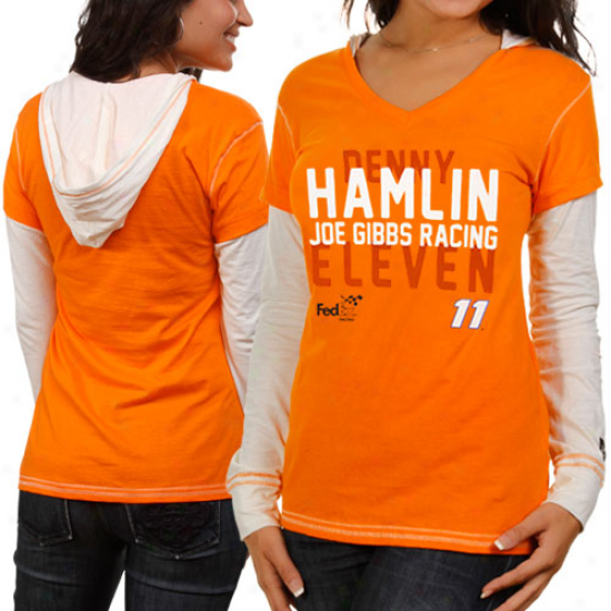 Emboss Authentics Denny Hamlin Ladies Dohble Layer Hooded Long Sleeve Premium T-shirt - Orange-white