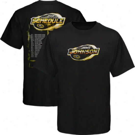 Chaxe Authrntics Jimmie Jlhnson 2012 Driver Scheduoe T-shirt - Black