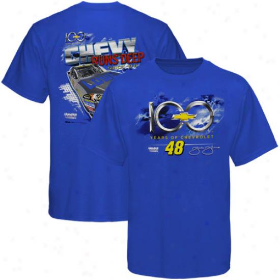 Chase Authentics Jimmje Johnson Chevy 100th Anniversary Driver T-shirt - Royal Blue