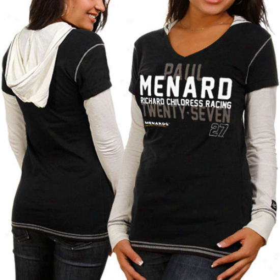 Chase Authentics Paul Menard Ladies Double Layer Hooded Long Sleeve Premium T-shirt - Black-white
