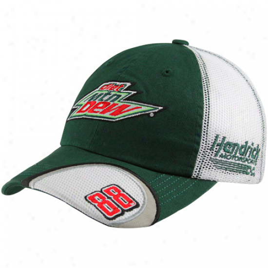 Checkered Flag Dale Eranhardt Jr. Green-white Old School Team Mesh Back Adjustable Hat