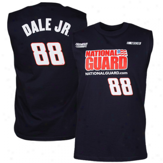Checkered Flag Dale Earnhardt Jr. Sponsor Driver Sleeveless T-shirt - Navy Blue
