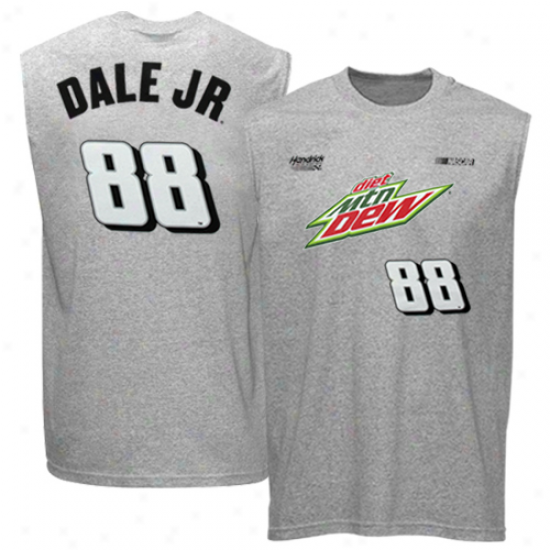 Checkerrd Flag Dale Earnhardt Jr. Sponsor Driver Sleevleess T-shirt - Ash