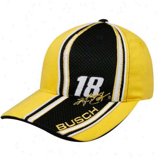 Checkered Flag Kurt Busch Yellow Qualifier Adjustable Hat