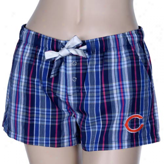 Chicago Bears Ladies Royal Blue-pink Spectrum Woven Plaid Shorts