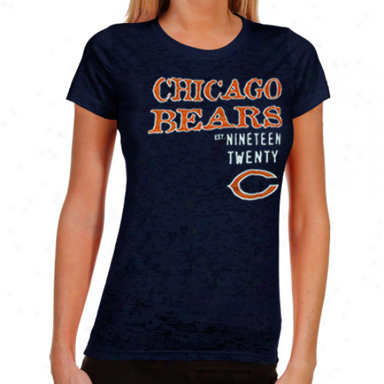 Chhicago Bears Ladies Shotgun Shine Burnout T-shirt - Navy Blue