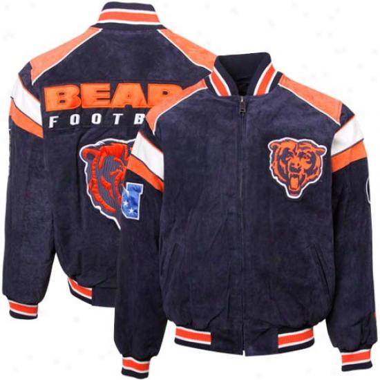 Chicago Bears Navy Blue Split Varsity Suede Full Zp Jacket
