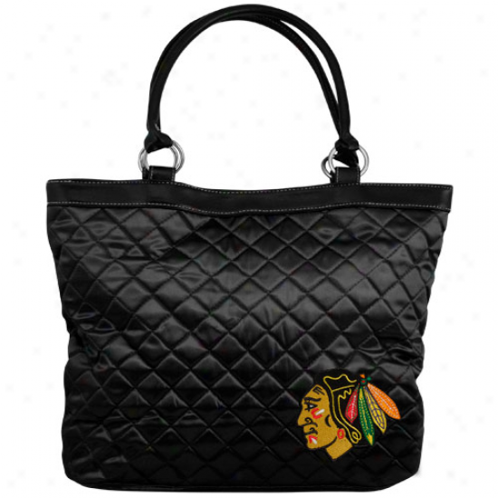 Chicago Blackhawks Ladies Black Quilted Tote Bag