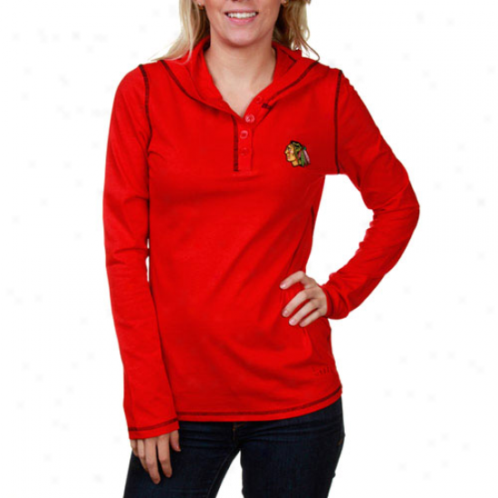 Chicago Blackhawks Ladies Red Hooded Henley Premium Long Sleeve T-shirt
